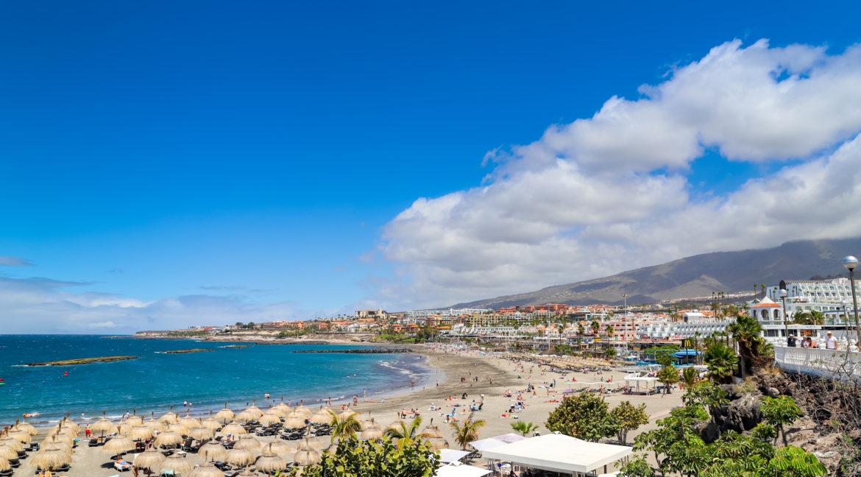Aerial view of Playa de Torviscas beach in Costa Adeje on Teneri